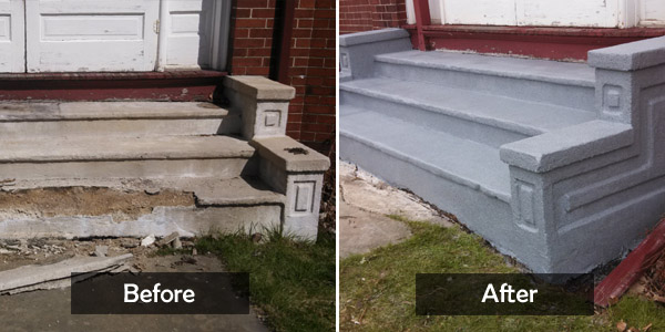 damaged stairs before&after